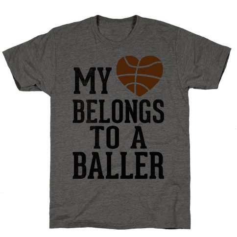 My Heart Belongs To A Baller (Baseball Tee) Mens T-Shirt