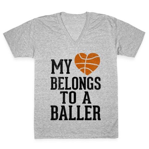 My Heart Belongs To A Baller (Baseball Tee) V-Neck Tee Shirt