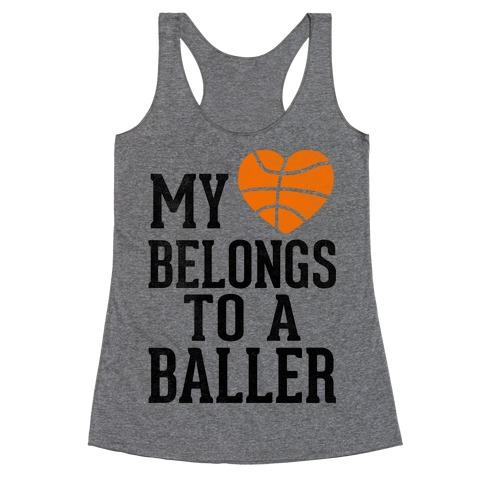 My Heart Belongs To A Baller (Baseball Tee) Racerback Tank Top