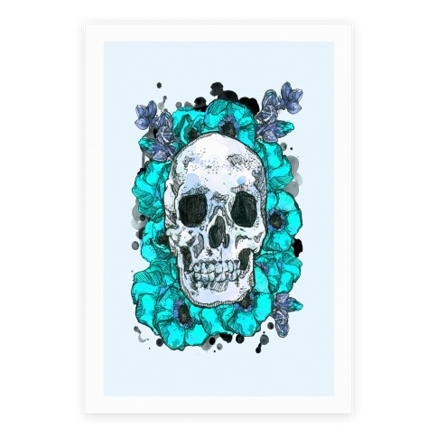 Skull On A Bed Of Poppies Poster