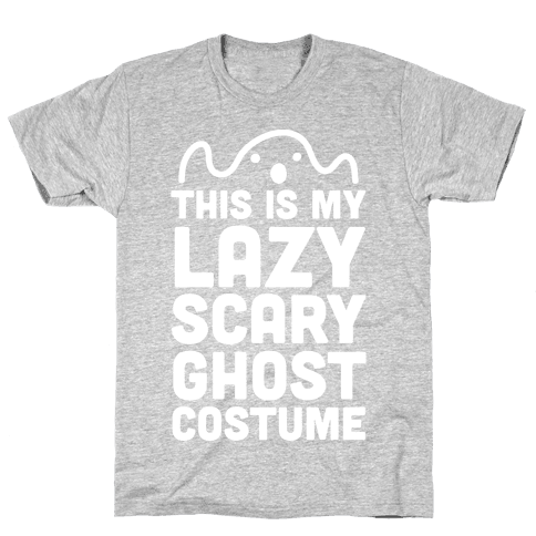 Lazy Scary Ghost Costume (White Ink) Mens T-Shirt