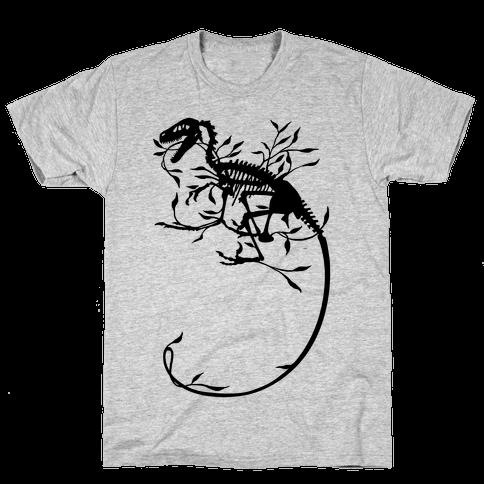 Floral Dinosaur Mens T-Shirt