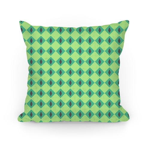 Green Diamond Eyes Pattern Pillow