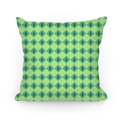 Green Diamond Eyes Pattern Pillow