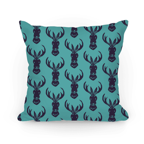 American Folklore Jackalope Pattern Pillow