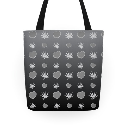 Weed and Hearts Black and White Ombre Pattern Tote