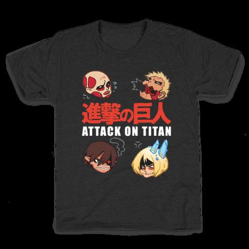 Attack On Titan Heads Kids T-Shirt