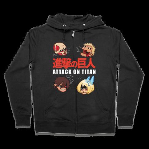 Attack On Titan Heads Zip Hoodie