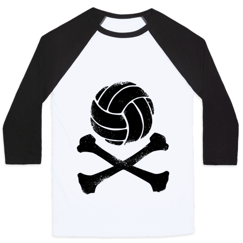 Volleyball and Crossbones (Vintage) Baseball Tee
