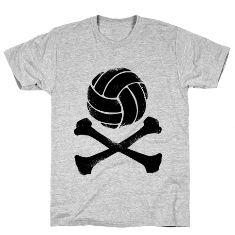 Volleyball and Crossbones (Vintage) Mens T-Shirt