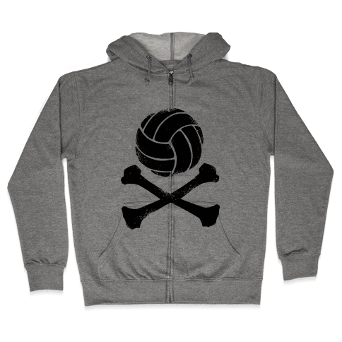 Volleyball and Crossbones (Vintage) Zip Hoodie