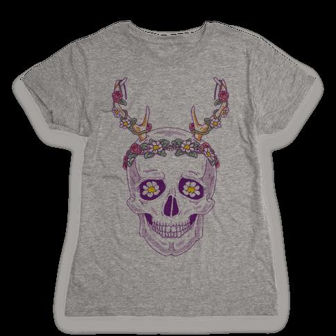 Flower Crown Skull Womens T-Shirt