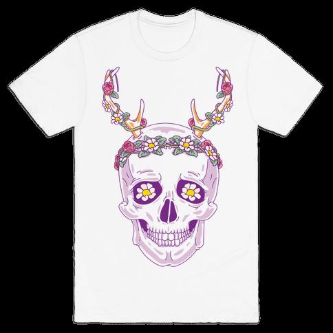 Flower Crown Skull Mens T-Shirt