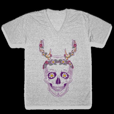Flower Crown Skull V-Neck Tee Shirt
