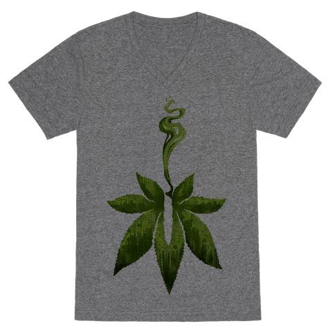 Green Leaf- Cannabis V-Neck Tee Shirt