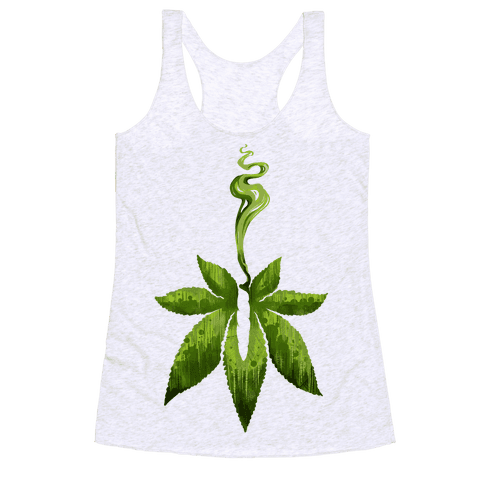 Green Leaf- Cannabis Racerback Tank Top