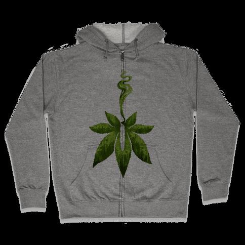 Green Leaf- Cannabis Zip Hoodie