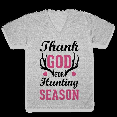 Thank God For Hunting Season V-Neck Tee Shirt