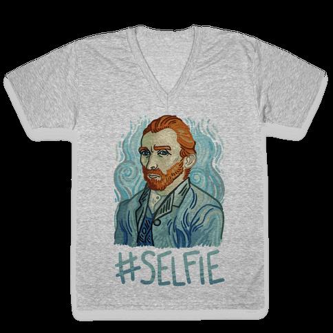 Van Gogh Selfie V-Neck Tee Shirt