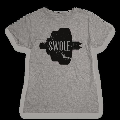 Swole Mates Distressed (swole half) Womens T-Shirt
