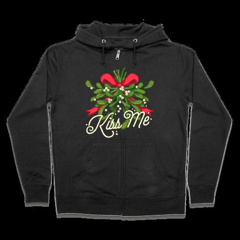 Mistletoe Kiss Me Zip Hoodie