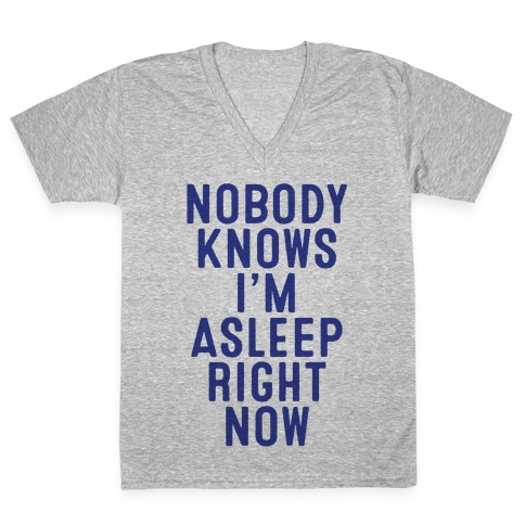 Nobody Knows I'm Asleep Right Now V-Neck Tee Shirt