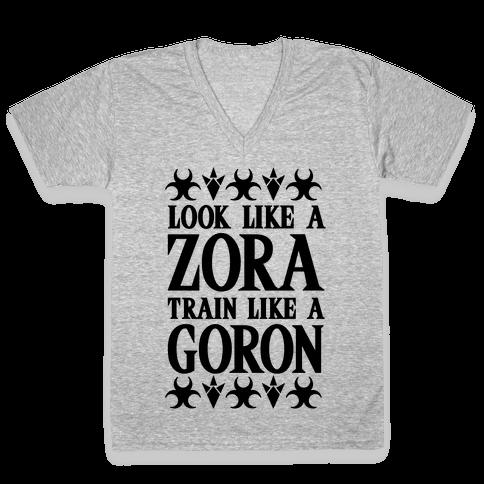 Look Like A Zora Train Like A Goron V-Neck Tee Shirt