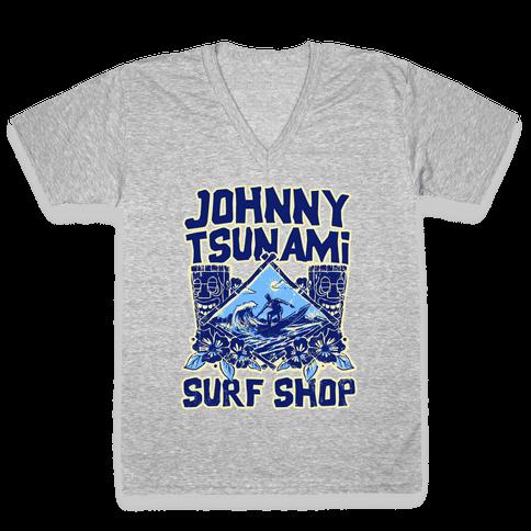 Johnny Tsunami Surf Shop V-Neck Tee Shirt
