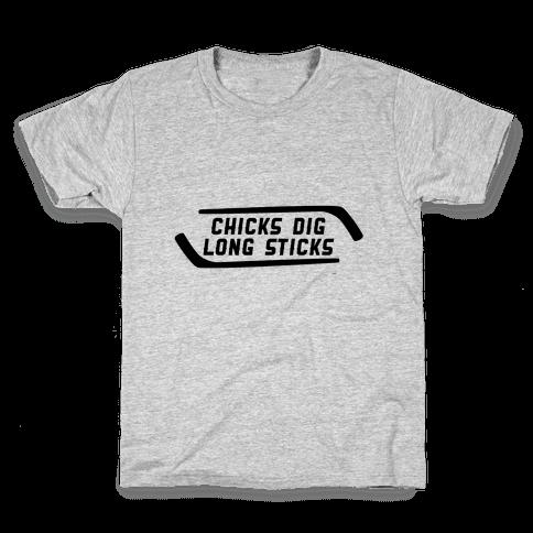 Chicks Dig Long Sticks Kids T-Shirt