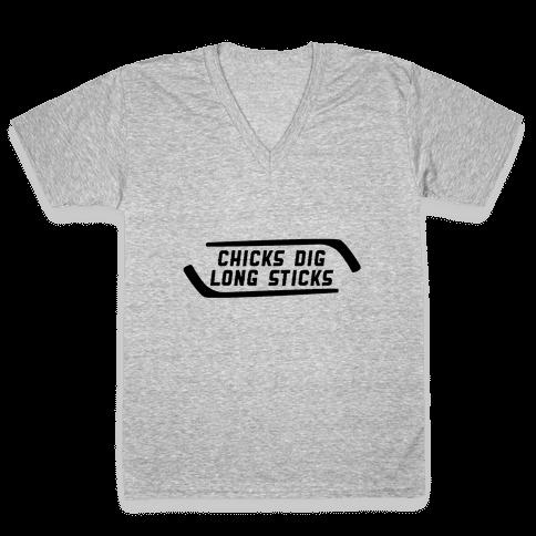 Chicks Dig Long Sticks V-Neck Tee Shirt