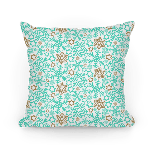 Winter Snowflakes Mint and Gold Pattern Pillow