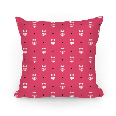 Pink and White Bows and Diamonds Pattern Pillow