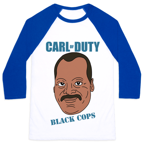 Carl Of Duty: Black Cops Baseball Tee
