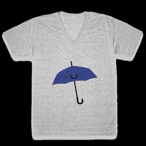 Blue Umbrella V-Neck Tee Shirt