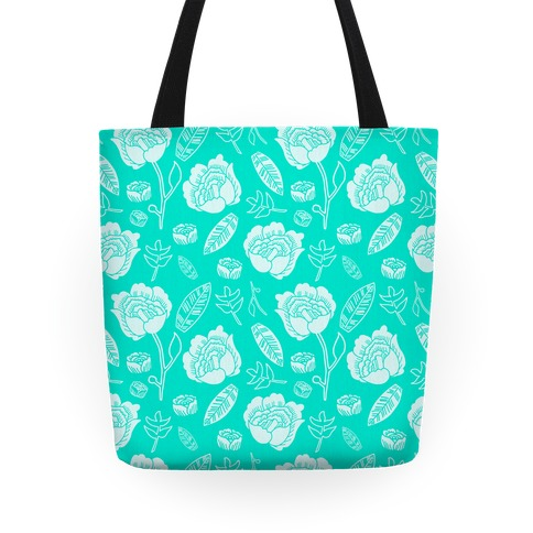 Floral and Leaves Pattern (Teal) Tote