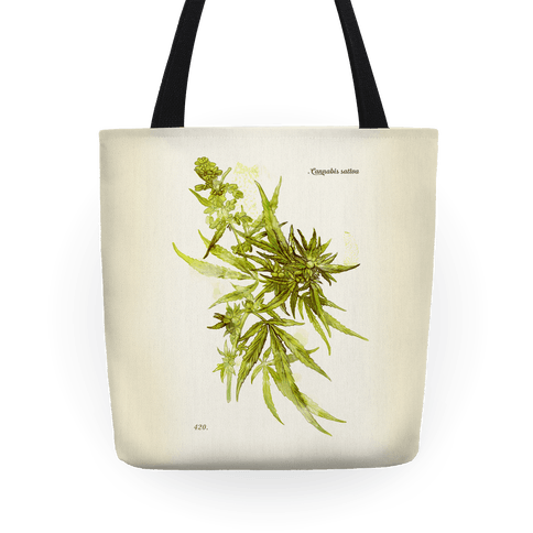 Cannabis Botanical Illustration Tote