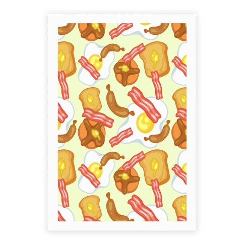 Breakfast Food Pattern Poster