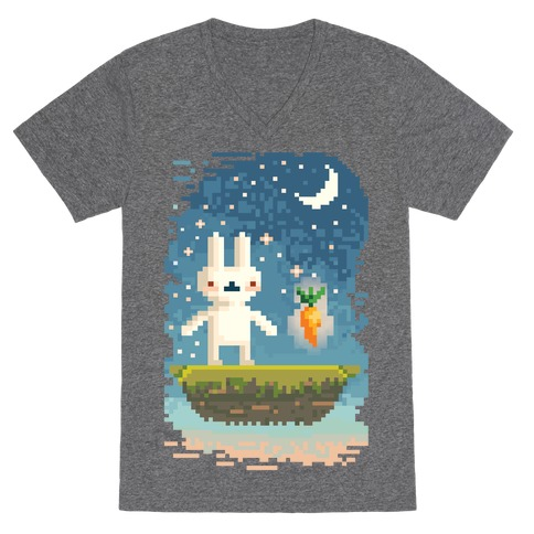 Pixel Bunny and Pixel Carrot V-Neck Tee Shirt