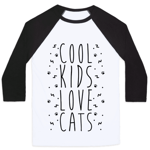 Cool Kids Love Cats Baseball Tee