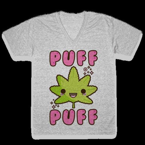 Puff Puff The Kawaii Pot Leaf V-Neck Tee Shirt