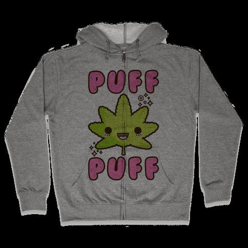 Puff Puff The Kawaii Pot Leaf Zip Hoodie
