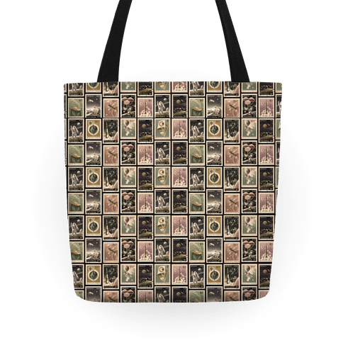 Vintage Space Stamp Pattern Tote