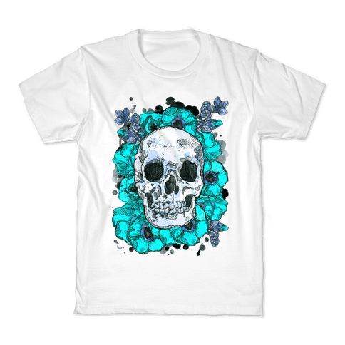 Skull on a Bed of Poppies Kids T-Shirt