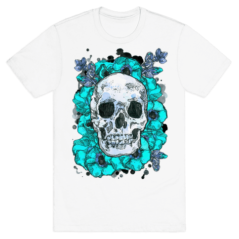 Skull on a Bed of Poppies Mens T-Shirt