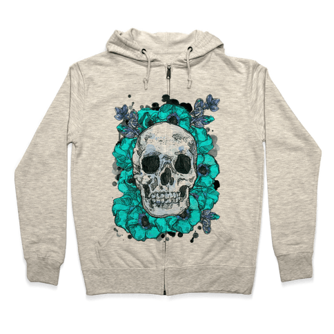 Skull on a Bed of Poppies Zip Hoodie