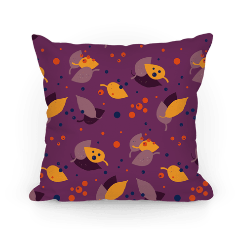 Purple Forest Floor Leaves Pattern Pillow