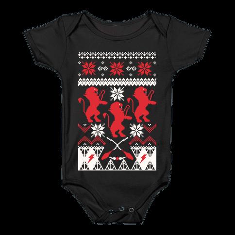 Hogwarts Ugly Christmas Sweater: Gryffindor Baby Onesy