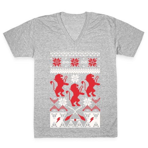 Hogwarts Ugly Christmas Sweater: Gryffindor V-Neck Tee Shirt
