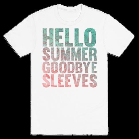 Hello Summer Goodbye Sleeves Mens T-Shirt