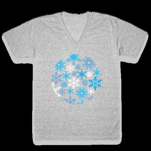 Snowflake Sphere V-Neck Tee Shirt